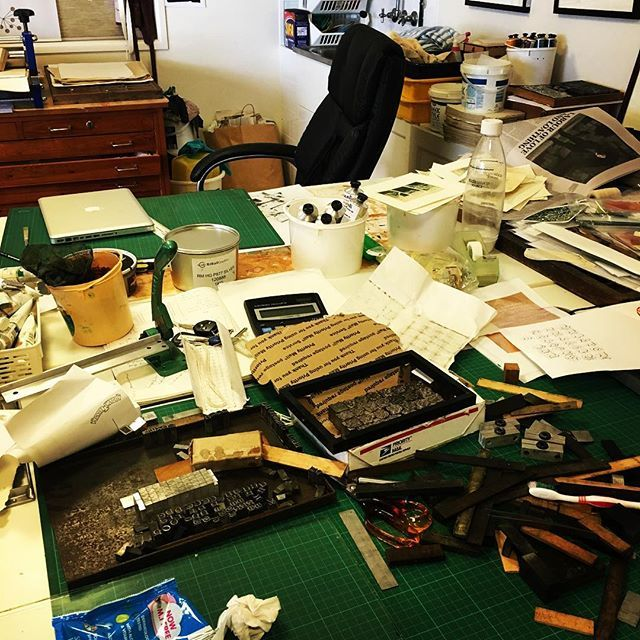 And now to put everything away. What a mess! #printmakingstudio #letterpress