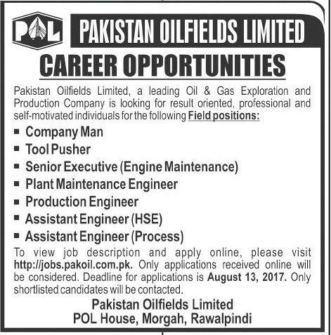 Pakistan Oilfields Limited POL Jobs 2017 Vacancies / Positions for Field work:- Company Man Tool Pusher Senior Executive (Engine Maintenance) Plant Maintenance Engineer Production Engineer