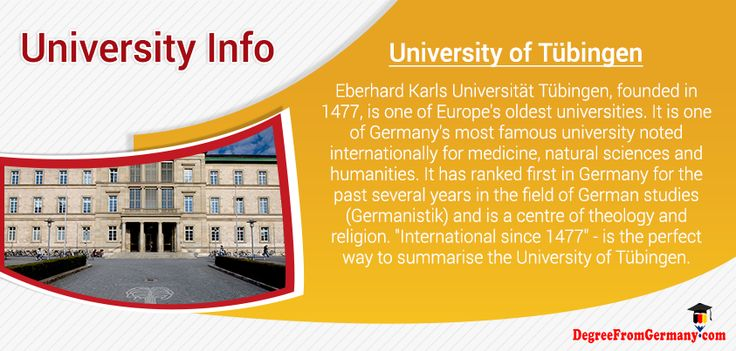 """Eberhard Karls Universität Tübingen, founded in 1477, is one of 's oldest universities. It is one of Germany's most famous university noted for #medicine, natural #Sciance and humanities. It has ranked first in Germany for the past several years in the field of German studies (Germanistik) and is a centre of theology and religion. """"International since 1477"""" - is the perfect way to summarise the #University of #Tubingen."""