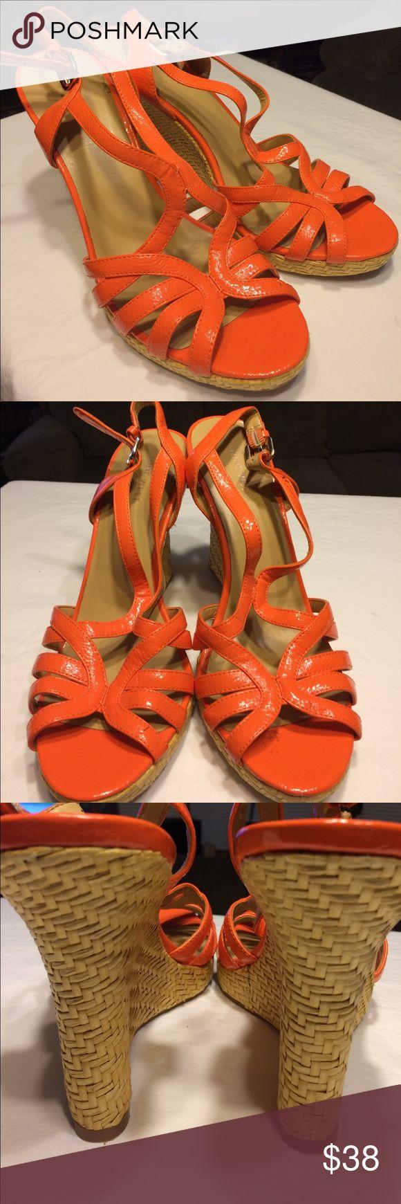Selling this Nine West in orange! Wedges! on Poshmark! My username is: heavenlyone2894. #shopmycloset #poshmark #fashion #shopping #style #forsale #Nine West #Shoes
