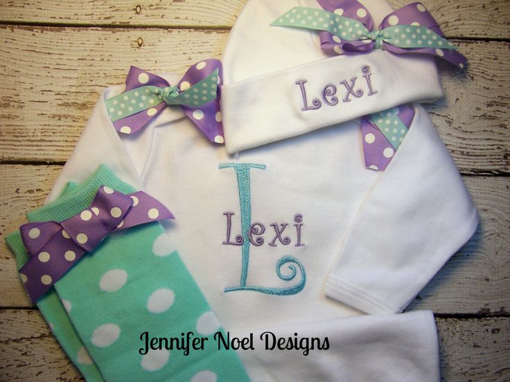 New to jennifernoeldesigns on Etsy: Personalized Take  Home Oufit Take  Home From Hospital set Gown legwarmers and Hat Set Girls Coming Home Outfit  (48.99 USD)