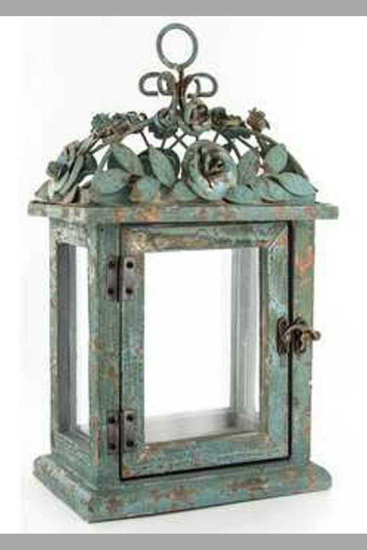 Gorgeous Antique Turquoise Lantern with Flower Top. #homedecor #antique #uniquelantern #farmstyle #rustic *aff*