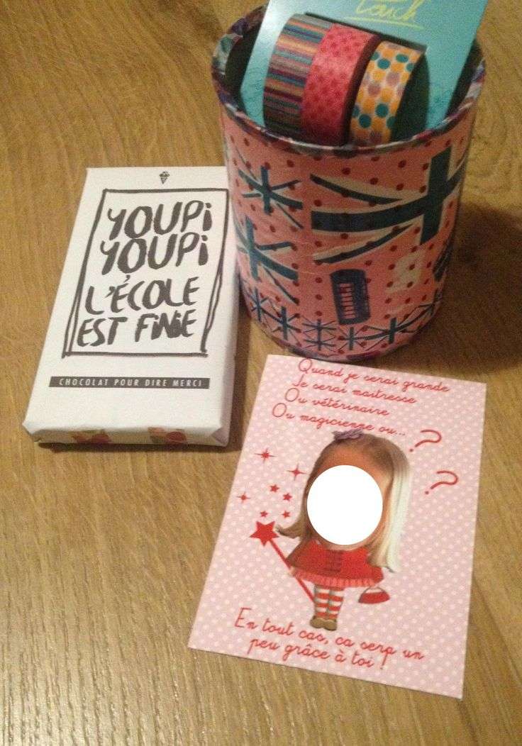 Cadeau maitresse une plaque de chocolat d cor e un pot crayon garni u - Boite de conserve decoree ...