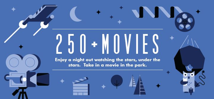 Movies in the Parks The 14th annual Movies in the Parks series kicks off May 29, 2014 and features more than 250 outdoor screenings of current and classic movies in parks across the city.  Bring a picnic basket, blanket, and your friends and family and enjoy a movie in the parks.