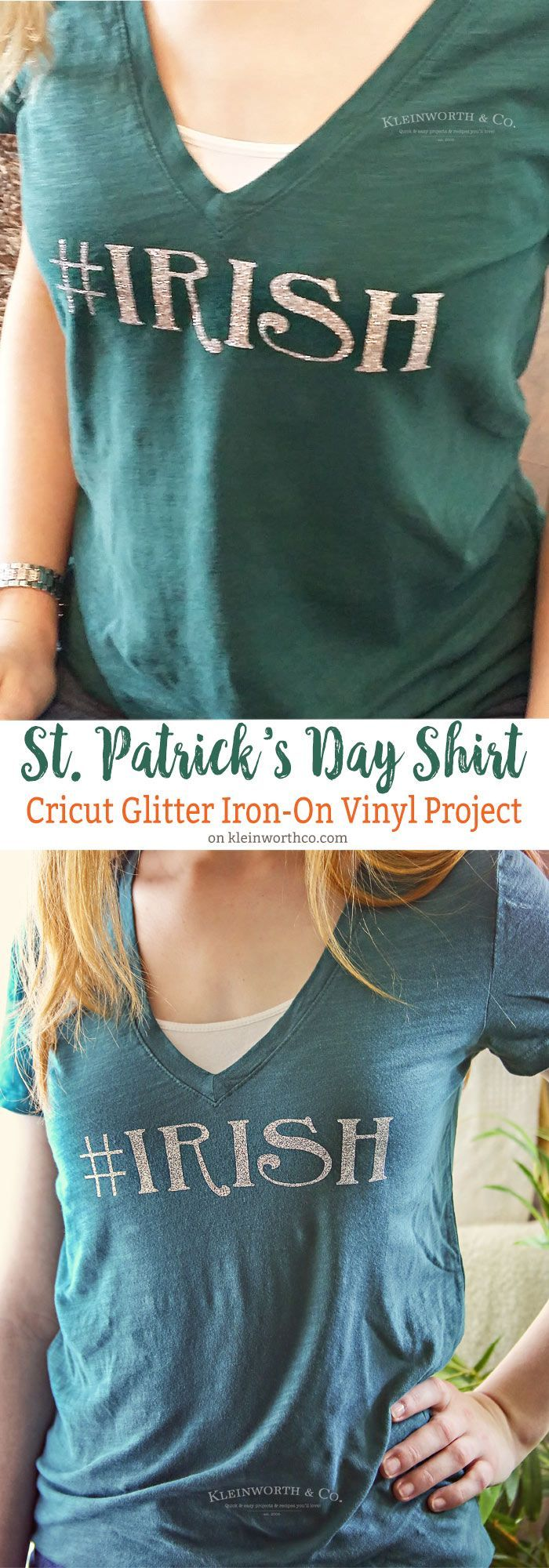 Hashtag Irish St. Patrick's Day Shirt is a super fun way to celebrate all things Irish! Super easy tutorial with glitter iron-on vinyl.AD #cricutmade @Official Cricut