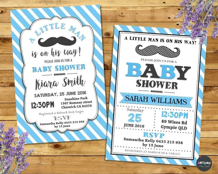 MOUSTACHE LITTLE MAN BABY SHOWER INVITATION PARTY CUSTOM INVITE BOY PERSONALISED #CUSTOMINVITATION #BabyShower http://www.lollipoppartysupplies.com.au