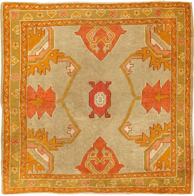 View this beautiful square antique Turkish Oushak rug 49061 from Nazmiyal Collection in New York City.