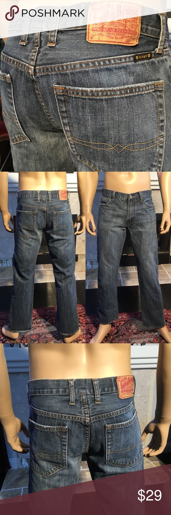 Lucky Brand Dungarees Jeans Straight 32  (987) Lucky Brand Dungarees Jeans Straight  Men's Size 32 X 30.5 (987) 100% cotton. Approximate measurements are inseam 30.5, waist 16.5 EUC  From a smoke free home (987) Lucky Brand Jeans Straight