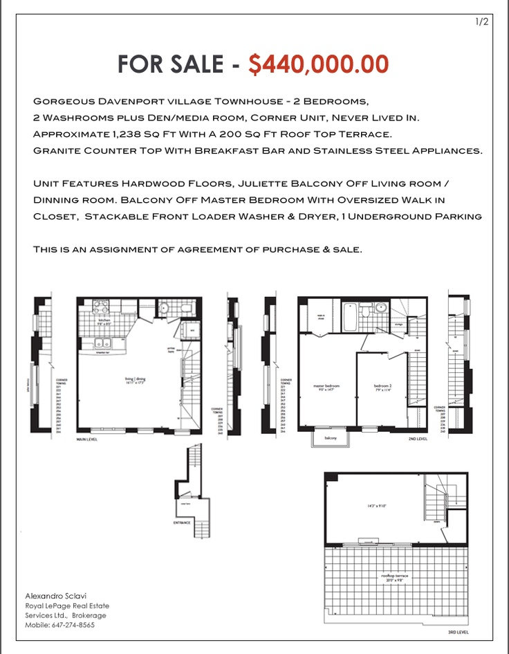 Never Lived In Townhouse for SALE - Corner Unit, 2 Bedrooms plus den,  2 Washrooms. Approximate 1240 Sq Ft, Granite Counter Top With   Breakfast Bar and Stainless Steel Appliances. Walk in Closet,  Stackable Front Loader Washer & Dryer, 1 Underground Parking  This is an assignment of agreement of purchase & sale.