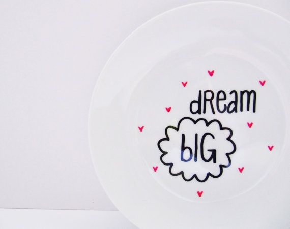Dream Big Cute Hand Painted Small Side Plate by LilyLovesShopping