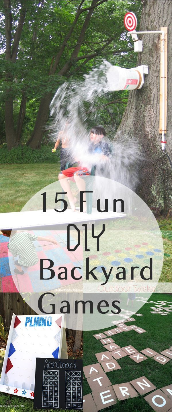 """15 Fun DIY Backyard Games - excellent ideas for Summer BBQs or family fun [ """"Too many kids spend summers cooped up in front of a TV, but with these 15 fun games, your kids will have no shortage of ideas for backyard adventures!"""", """"15 Fun DIY Backyard Games Click highlighted link in each description for how-to directions."""", """" Gardening, home garden, garden hacks, garden tips and…"""", """" Great way to get your kids active!"""", """"That is a super cool diy splash bucket"""", """"If you have a passi..."""