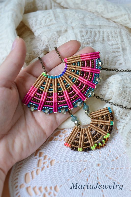 Bohemian macrame necklace, colorful beaded fan, micro-macrame jewelry, beaded…