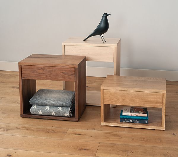 The NEW collection of Cube bedside tables - available in a range of hardwood timbers - all from www.naturalbedcompany.co.uk