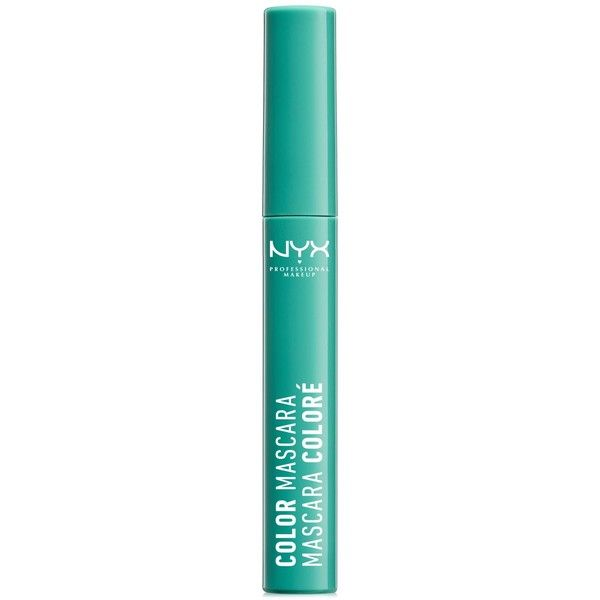Nyx Professional Makeup Color Mascara found on Polyvore featuring beauty products, makeup, eye makeup, mascara, mint julep, nyx mascara and nyx