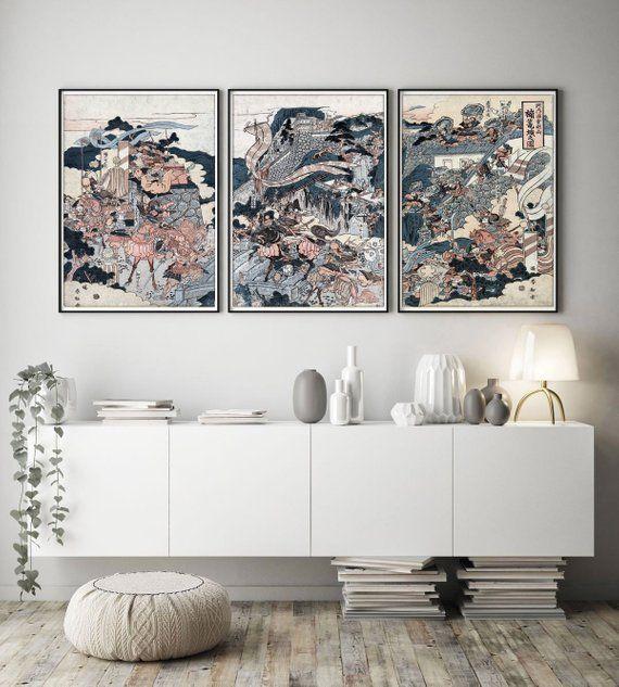 Japanese Print Set Of 3 Japanese Wall Art Modern Wall Art Etsy Oriental Wall Art Japanese Wall Art Japanese Wall Decor