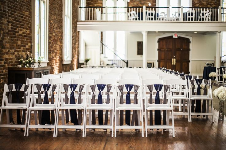 Chic Navy and Gray Chair Ribbons. St. Thomas Preservation Hall.  Knot Too Shabby Events Wilmington, NC Event Planning & Wedding Coordination - Event Blog - Knot Too Shabby Events Wilmington, NC Wedding & Event Coordination