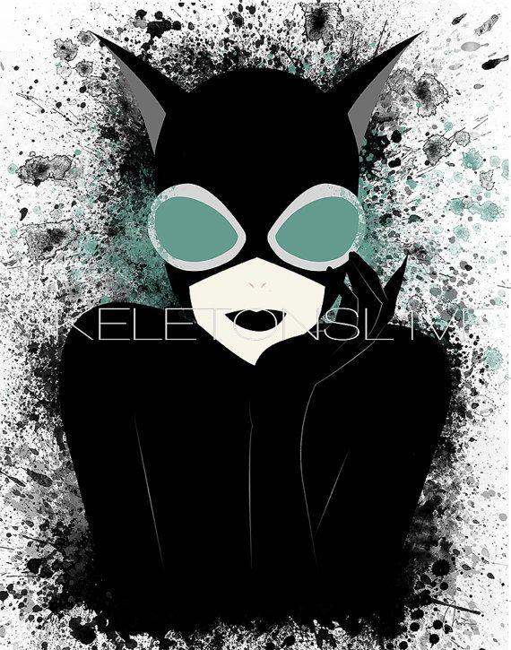 Original Catwoman Art Print Home Decor Splatter by SkeletonsL1ve
