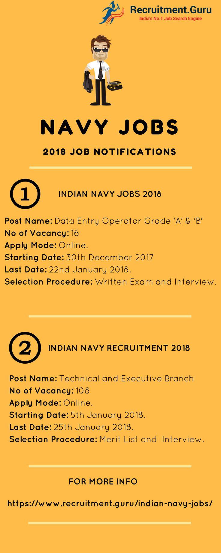Navy Jobs 2018 | Navy Recruitment 2018 | Recent Jobs in Navy | Join Indian Navy