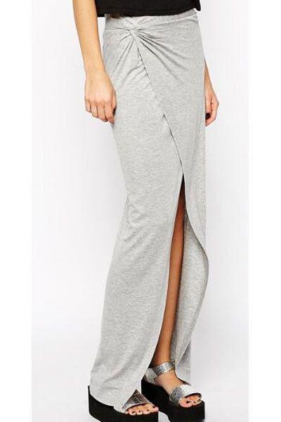 Jupes & Petticoat Sexy Trendy Gris Jersey Drape Avant Slit Maxi Jupe Pas Cher www.modebuy.com @Modebuy #Modebuy #Gris #me #dress #discount