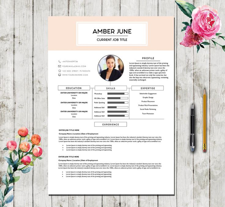 5 page modern design template resume template for word cover letter reference - Professional Cv Template