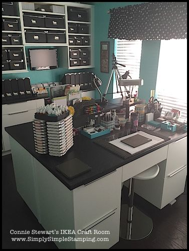 I wish my sewing room looked this nice.   Connie Stewart's IKEA Craft Room - www.SimplySimpleStamping.com
