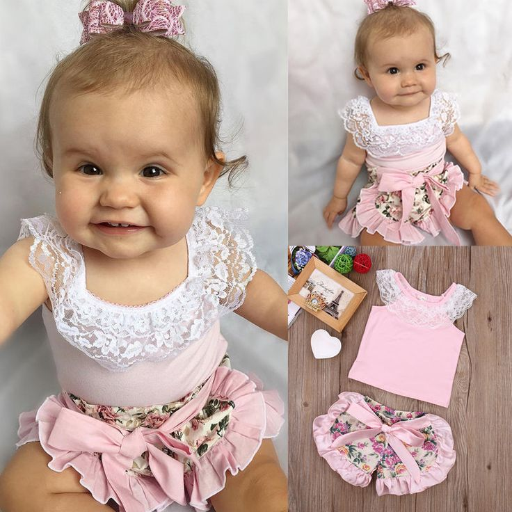 Infant Baby Girl Lace Tops T-shirt + Floral Shorts Summer Bow Ruffles 2pcs Outfits Set New 0-24M