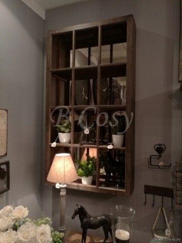 J-Line Rek met spiegel raam antiek beige hout 75