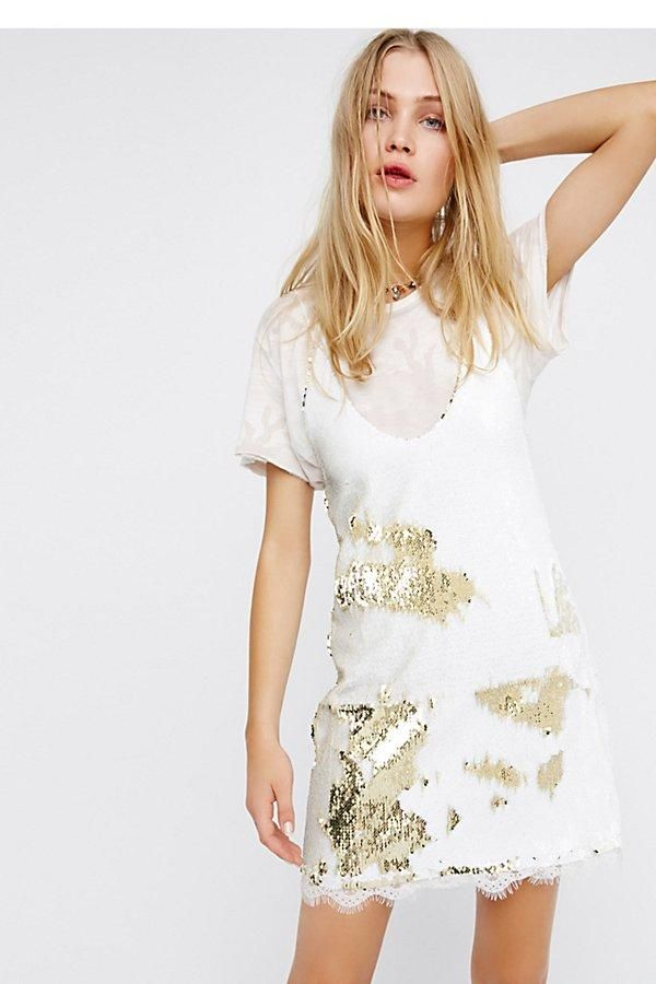 5dabd8331588 Free People Seeing Double Sequin Slip - White & Gold | New Arrivals ...