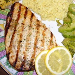Grilled Marinated Swordfish  (marinade: garlic, white wine, lemon juice, soy sauce, olive oil, and spices)