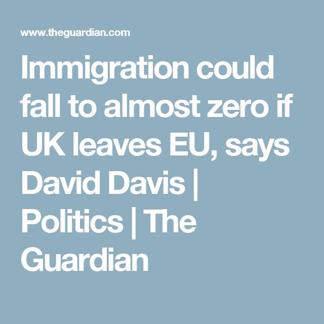Immigration could fall to almost zero if UK leaves EU, says David Davis | Politics | The Guardian