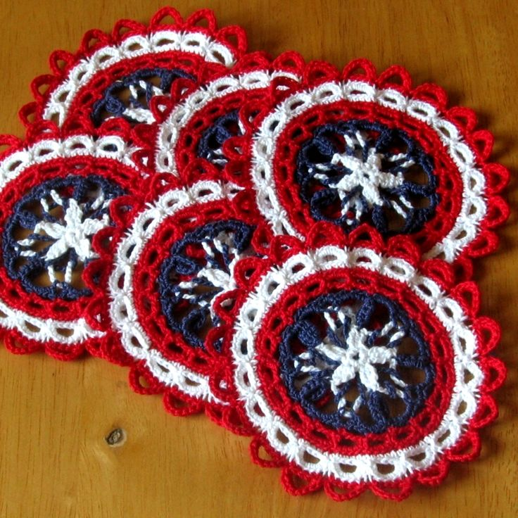 Patriotic Coasters Crocheted Doilies Handmade Home Decor