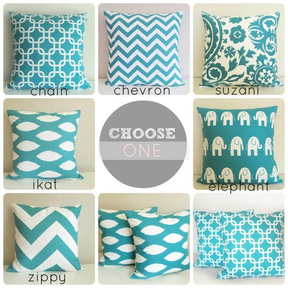 ONE Turquoise Throw Pillow Cover. 16 x 16 Cushion Cover. You Choose. Decorative Accent Pillow.