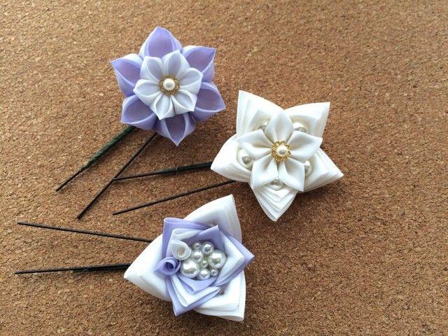 薄紫のウェディング。つまみ細工のUピン3本セット | HandMade in Japan 手仕事の新しいマーケットプレイス iichi