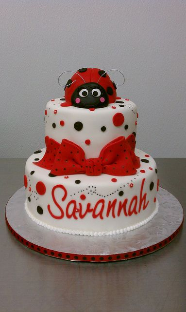 lady bug baby shower cake by little sugar bake shop via flickr