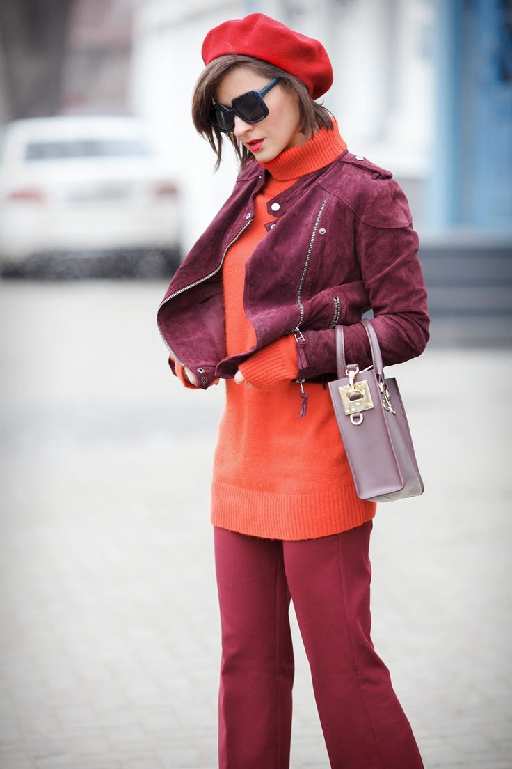 Parisian winter styles, beret outfit ideas, how to wear wool berets, biker jacket outfits,
