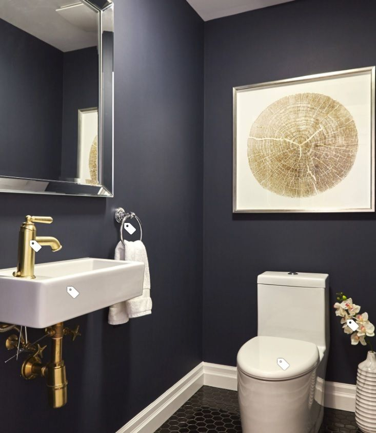 Dark Grey Accent Wall In Small Bathroom: Dark Grey Walls, White Fixtures, Bronze/gold Accents