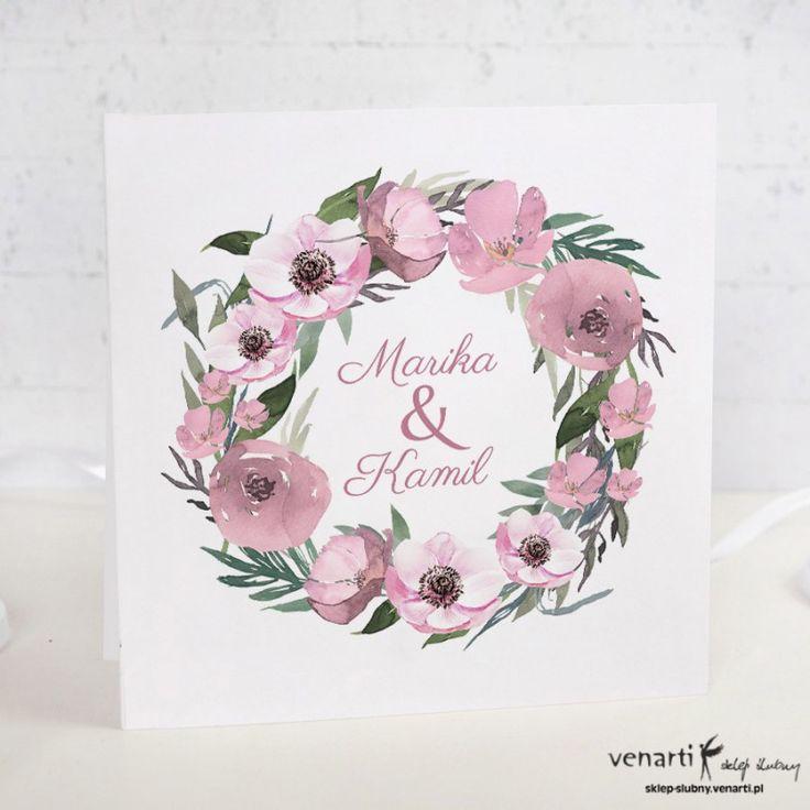 Kwiaty Anemone Zaproszenia ślubne