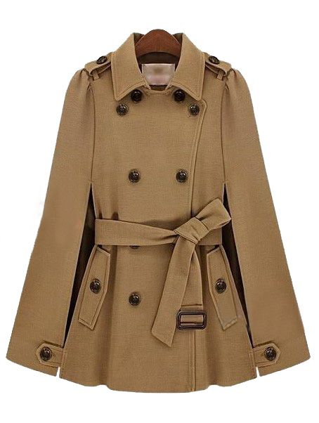 ++ Camel Lapel Split Drawstring Buttons Cape Coat