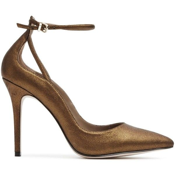 Reiss Leighton Metallic Suede Ankle Strap Pumps ($310) ❤ liked on Polyvore featuring shoes, pumps, bronze, reiss, metallic pumps, metallic shoes, bronze metallic shoes and reiss shoes