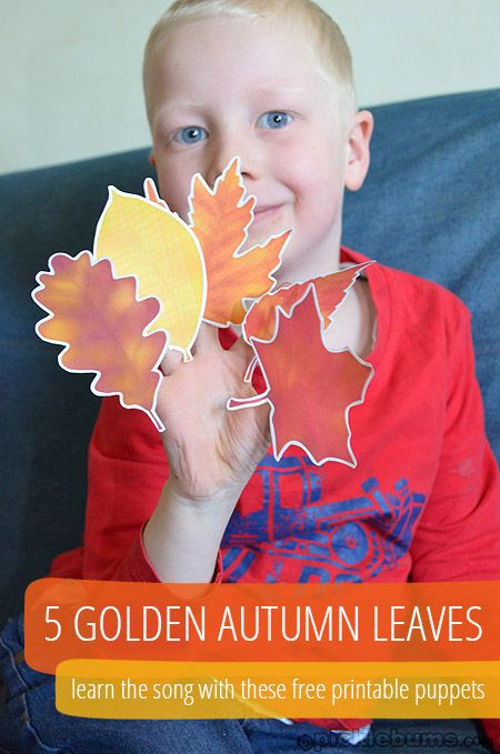 5 Golden Autumn Leaves - free printable puppets and an Autumn/Fall song to learn!