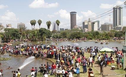 Kenyans at Uhuru Park, Nairobi on December 25, 2014. PHOTO | JEFF ANGOTE