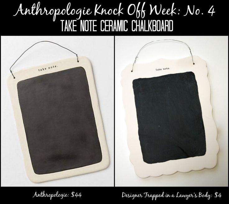 Take Note Ceramic Chalkboard ~ Anthropologie Knock Off Week No. 4