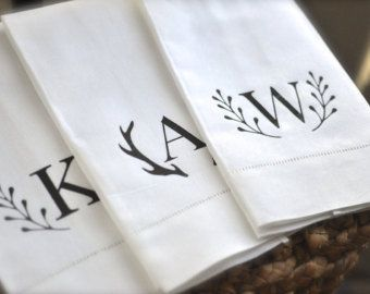 Monogrammed Hand Towel-Personalized Hostess Gift-Rustic Tea