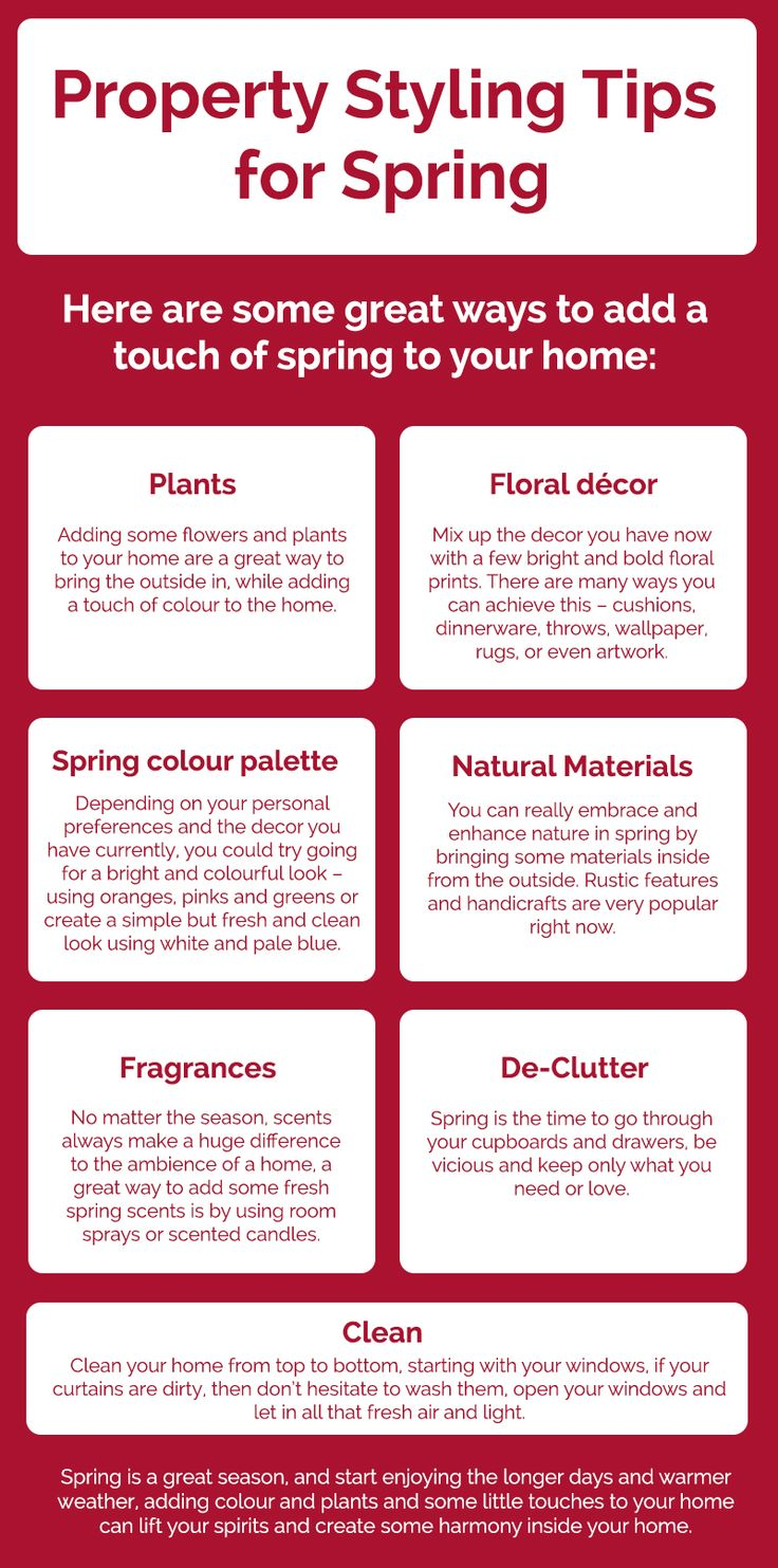 Spring is the season where plants and flower actually come to life. Property styling becomes an easy task. Here is an Infographic that will help you enhance the overall look of your house and property by adding the touch of spring.
