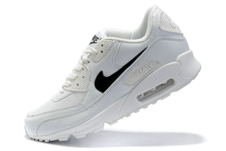 Nike Air Max 90 Mensen Leer Wit Zwart logo