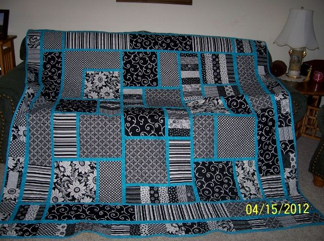 Black & White & a bit of blue  - this would be a great rag quilt with a blue flannel back