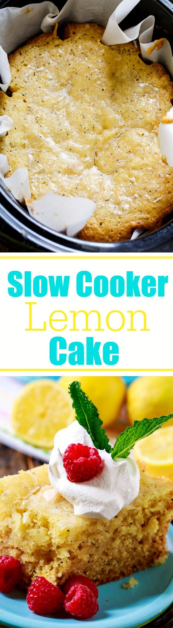 Slow Cooker Lemon Cake made from scratch. This crock pot cake is moist and has lots of fresh lemon flavor.