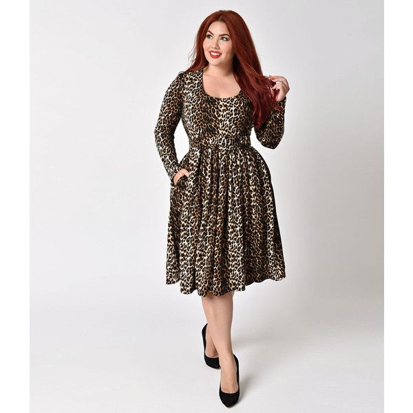 Vixen by Micheline Pitt Plus Size Leopard Long Sleeve Troublemaker... ($126) ❤ liked on Polyvore featuring plus size women's fashion, plus size clothing, plus size dresses, brown, trapeze dress, plus size brown dress, long sleeve vintage dresses, brown dresses and plus size vintage dresses