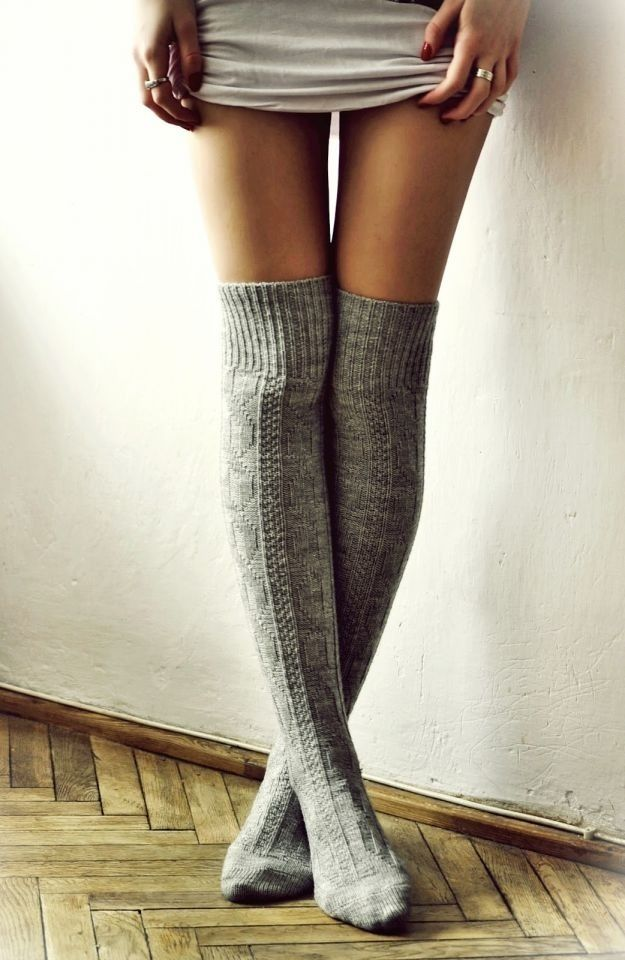 Thigh high socks whether thick or thin are always a comfortable option. Pair with a simple skater skirt/dress outfit.