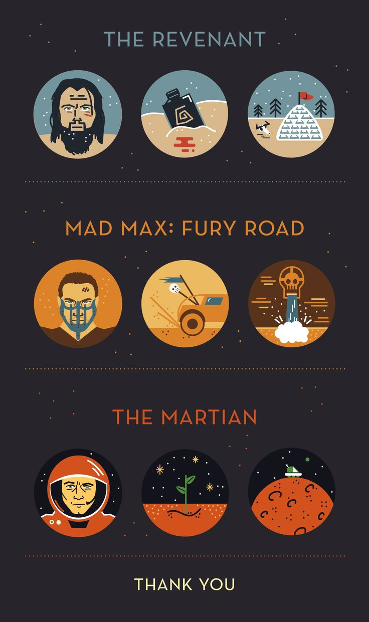 A series of #icons I created in light of the #academy #awards #oscars #Mad #max #Fury #Road #the #Martian #Film #filmicons #The #Revenant
